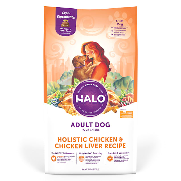 Halo Adult Holistic Chicken & Chicken Liver Dry Dog Food, 21 lbs. - Carousel image #1
