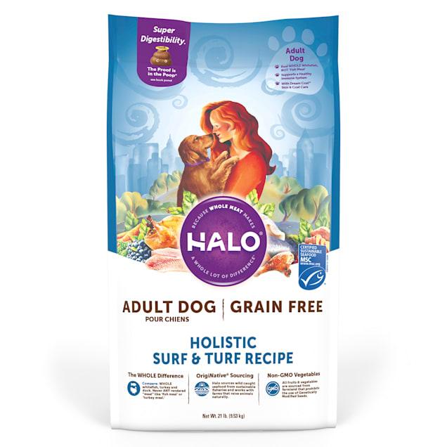 Halo Adult Holistic Grain Free Surf N Turf Dry Dog Food, 21 lbs. - Carousel image #1