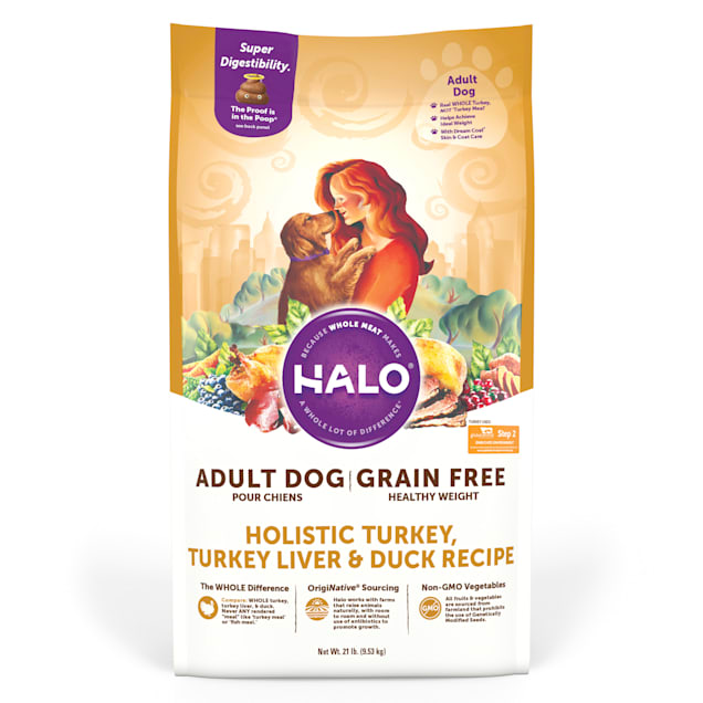 Halo Grain Free Healthy Weight Holistic Turkey, Turkey Liver and Duck Dry Dog Food, 21 lbs. - Carousel image #1