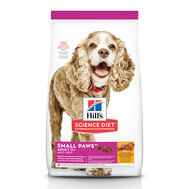 Hill's Science Diet Adult 11+ Small Paws Chicken Meal, Barley & Brown Rice Recipe Dry Dog Food, 15.5 lbs., Bag - Carousel image #1