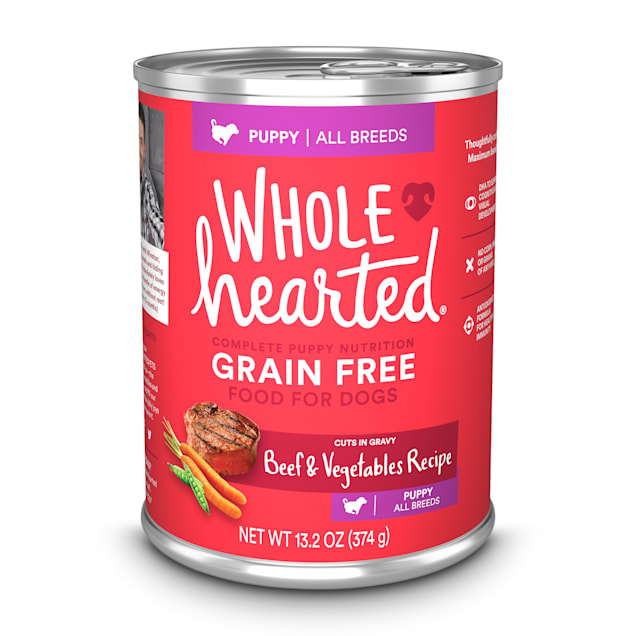 WholeHearted Grain Free Beef and Vegetable Recipe Wet Puppy Food, 13.2 oz., Case of 12 - Carousel image #1