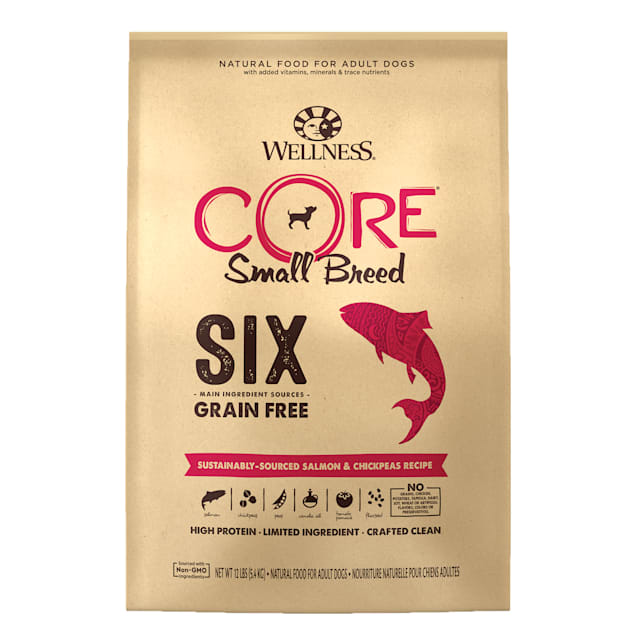 Wellness CORE SIX Small Breed Sustainable-Sourced Salmon with Chickpeas Recipe Dry Dog Food, 12 lbs. - Carousel image #1