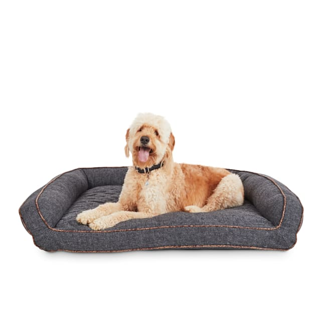 """EveryYay Snooze Fest Grey Memory Foam Rectangle Lounger Dog Bed, 48"""" L X 36"""" W - Carousel image #1"""