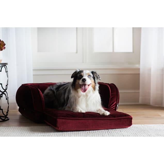 "La-Z-Boy Duchess Fold Out Merlot Sofa Dog Bed, 38"" L X 29"" W - Carousel image #1"