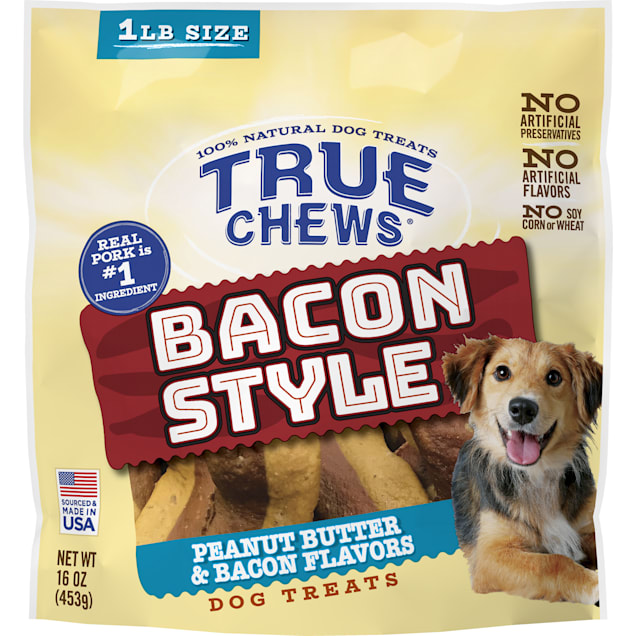 True Chews Bacon Style Peanut Butter & Bacon Flavors Dog Treats, 16 oz. - Carousel image #1