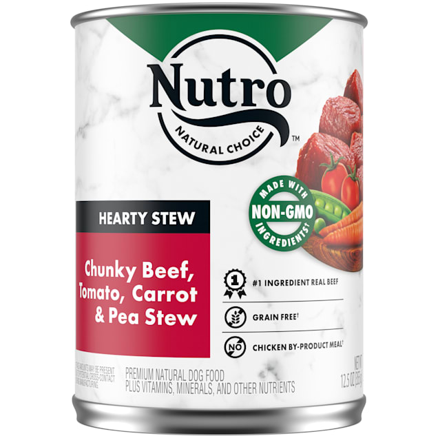 Nutro Gravy Chunky Beef, Tomato, Carrot & Pea hearty Stew Adult Canned Wet Dog Food, 12.5 oz., Case of 12 - Carousel image #1