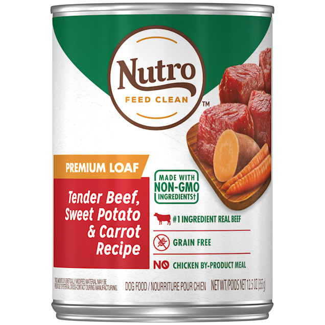 Nutro Premium Loaf Tender Beef, Sweet Potato & Carrot Recipe Adult Canned Wet Dog Food, 12.5 oz., Case of 12 - Carousel image #1