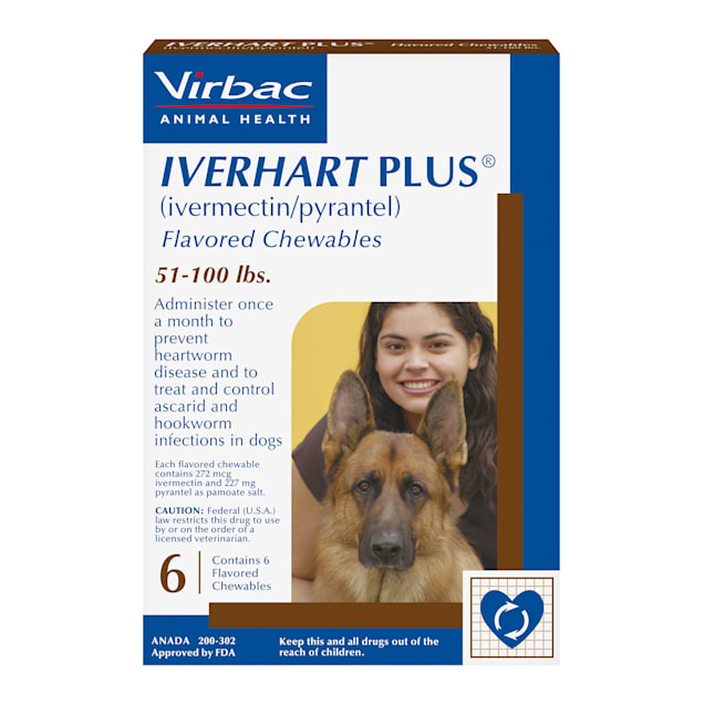 Iverhart Plus Chewable Tablets for Dogs 51-100 lbs, 6 Month Supply - Carousel image #1