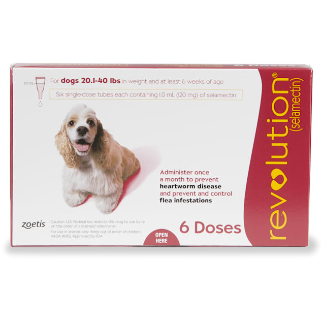 Revolution Topical Solution for Dogs 20.1-40 lbs, 6 Month Supply - Carousel image #1
