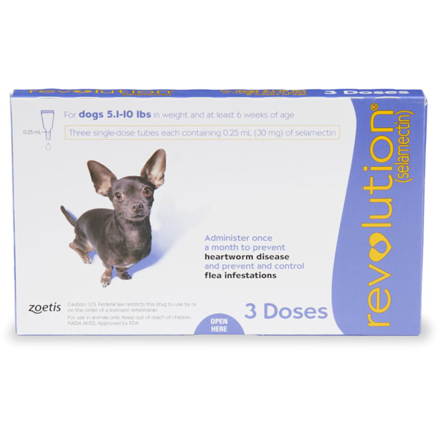 Revolution Topical Solution for Dogs 5.1-10 lbs, 3 Month Supply - Carousel image #1