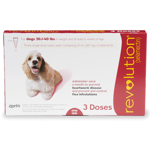 Revolution Topical Solution for Dogs 20.1-40 lbs, 3 Month Supply - Carousel image #1