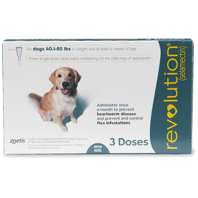 Revolution Topical Solution for Dogs 40.1- 85 lbs, 3 Month Supply - Carousel image #1