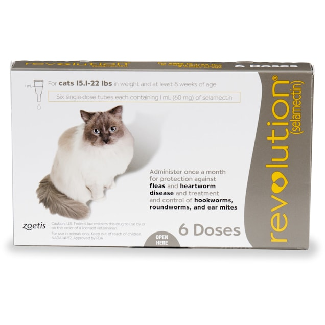 Revolution Topical Solution for Cats 15.1-22 lbs, 6 Month Supply - Carousel image #1