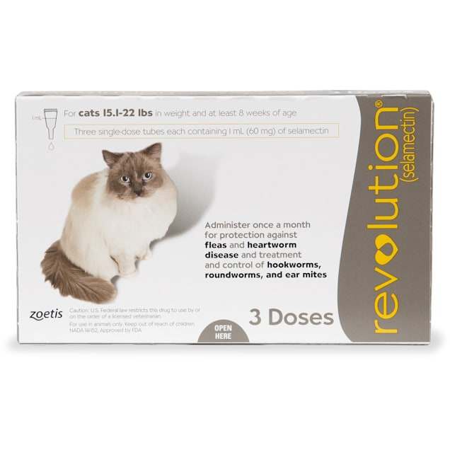 Revolution Topical Solution for Cats 15.1-22 lbs, 3 Month Supply - Carousel image #1