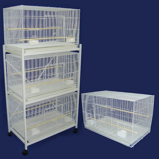 YML Breeding White Cages Lot of 4 With Stand, Medium - Carousel image #1