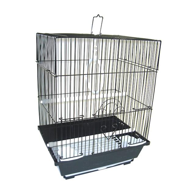 "YML Black Flat Top Parakeet Cage, 11"" L X 8.5"" W X 14"" H - Carousel image #1"