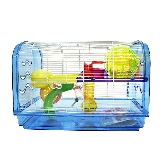 YML Clear Plastic Dwarf Hamster Mice Blue Cage Dome with Color Accessories, Medium - Carousel image #1