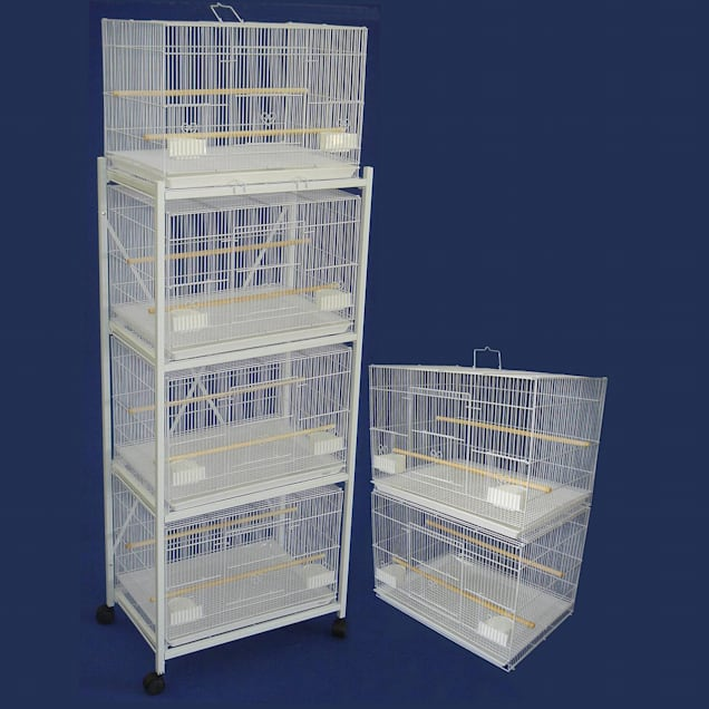 YML White Breeding Bird Cages With Stand, Small - Carousel image #1