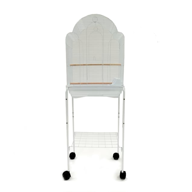 YML Bar Spacing Shell Top Bird White Cage with Stand, Small - Carousel image #1