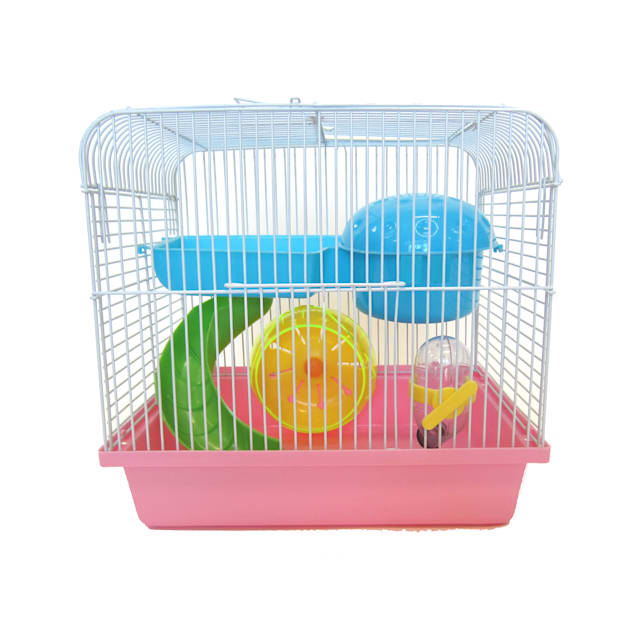YML Travel Mice, Dwarf hamster Pink Cage, Small - Carousel image #1
