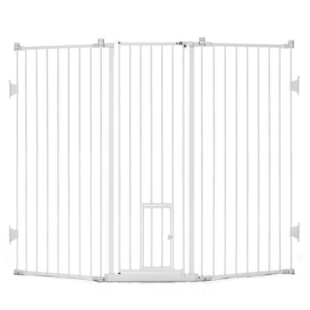 "Carlson Pet Products Extra Tall Flexi Gate with Pet Door, 76"" L X 2"" W X 38"" H - Carousel image #1"