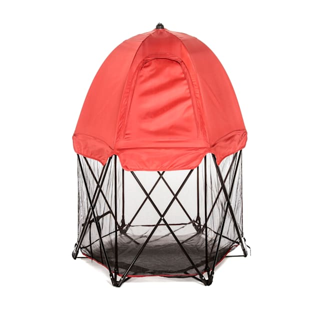 "Carlson Pet Products Deluxe Red Six Panel Pet Pen with Canopy, 48"" L X 48"" W X 26"" H - Carousel image #1"