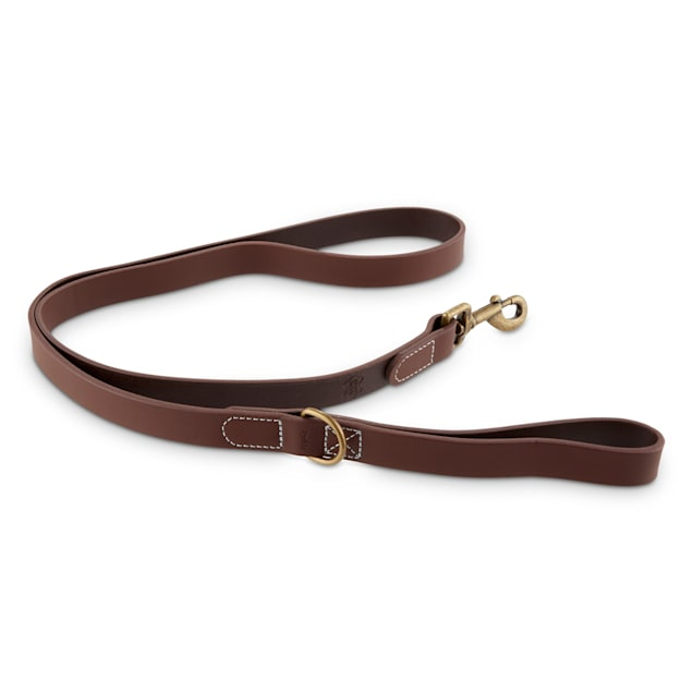 Reddy Brown Leather Dog Leash, 5 ft. - Carousel image #1