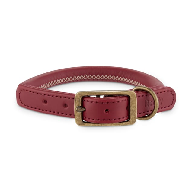 Reddy Maroon Leather Dog Collar, Small - Carousel image #1