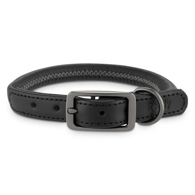 Reddy Black Leather Dog Collar, Small - Carousel image #1