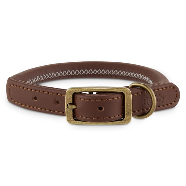 Reddy Brown Leather Dog Collar, Small - Carousel image #1