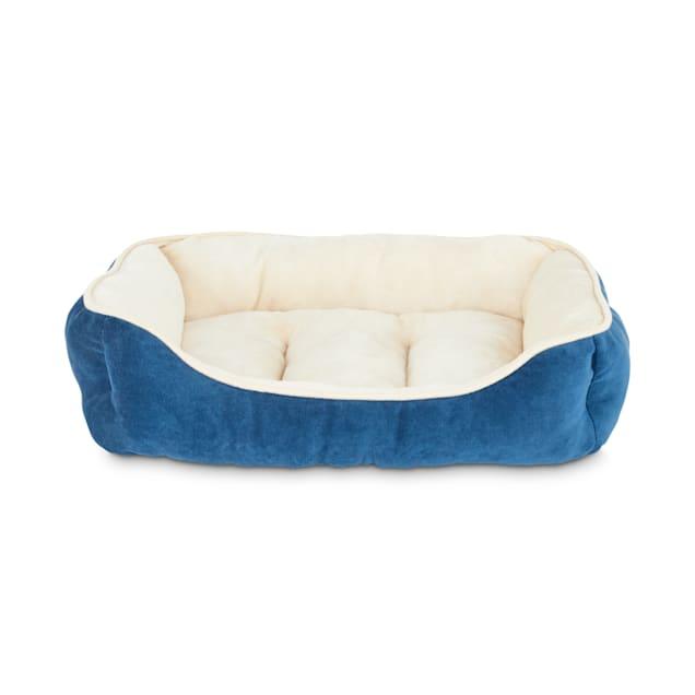 "Animaze Navy Rectangle Bolster Dog Bed, 24"" L X 18"" W X 6.5"" H - Carousel image #1"