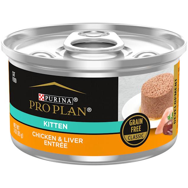 Purina Pro Plan Grain Free, Natural Pate Chicken & Liver Entree Wet Kitten Food, 3 oz., Case of 24 - Carousel image #1