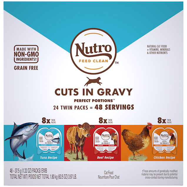 Nutro Perfect Portions Grain Free Natural Cuts In Gravy Recipes Variety Pack Adult Wet Cat Food, 3.97 lbs., Count of 24 - Carousel image #1