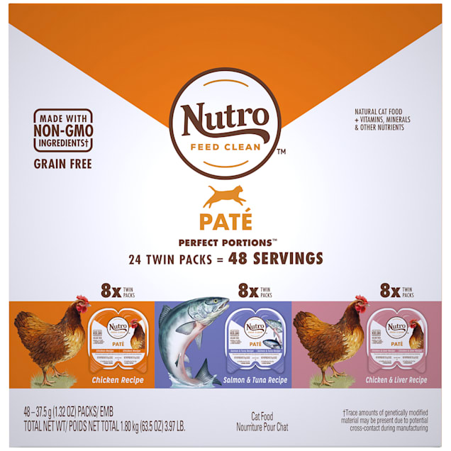 Nutro Perfect Portions Grain Free Natural Pate Recipes Variety Pack Adult Wet Cat Food, 3.97 lbs., Count of 24 - Carousel image #1