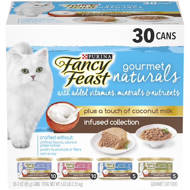 Fancy Feast Gourmet Naturals Plus Coconut Milk Infused Collection Gravy Wet Cat Food Variety Pack, 3 oz., Count of 30 - Carousel image #1