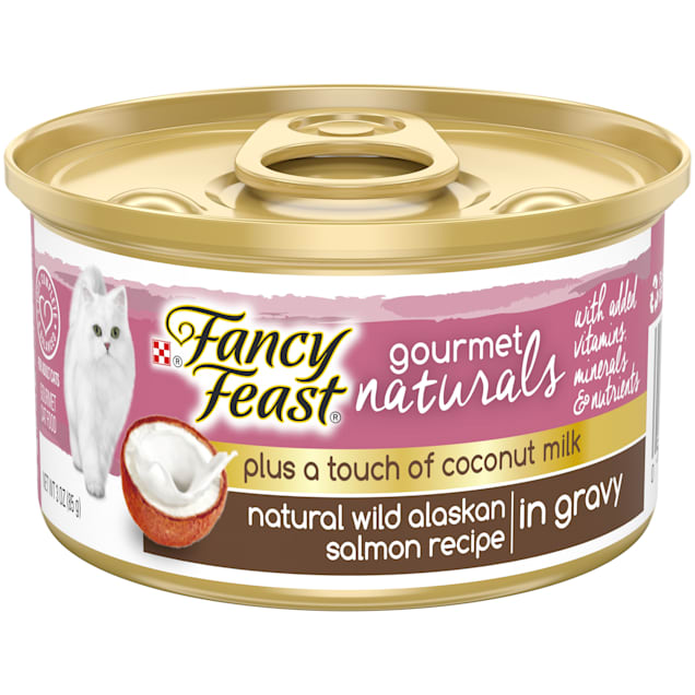 Fancy Feast Gourmet Naturals Plus Coconut Milk Wild Alaskan Salmon Recipe Gravy Wet Cat Food, 3 oz., Case of 24 - Carousel image #1