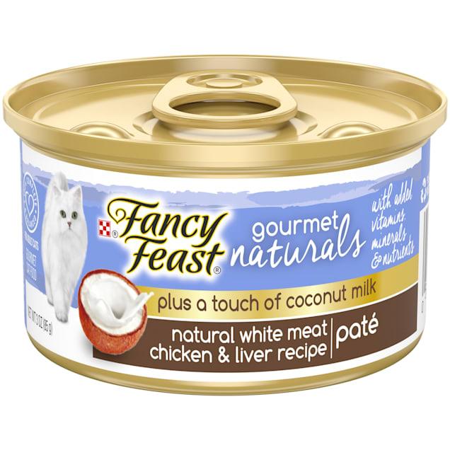 Fancy Feast Gourmet Naturals Plus Coconut Milk White Meat Chicken & Liver Recipe Wet Cat Food, 3 oz., Case of 24 - Carousel image #1