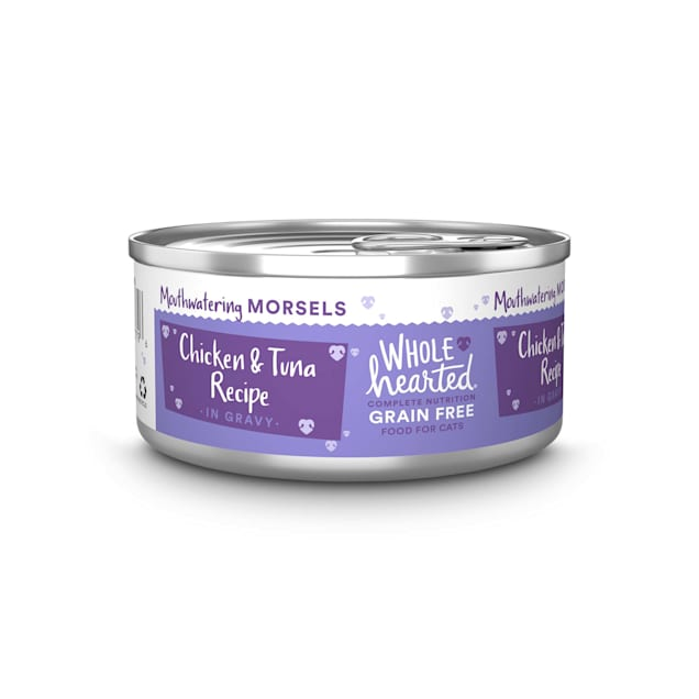WholeHearted All Life Stages Grain-Free Chicken & Tuna Recipe Morsels in Gravy Wet Cat Food, 5.5 oz., Case of 12 - Carousel image #1