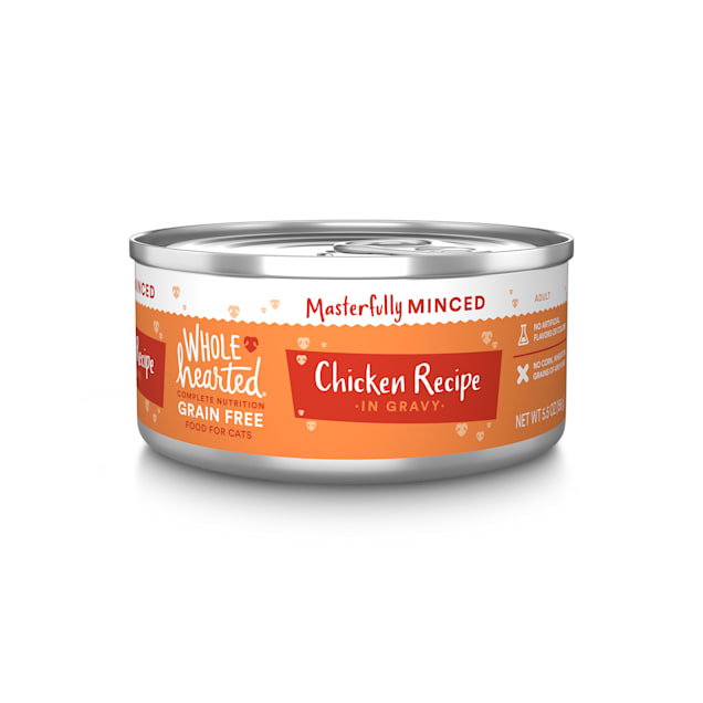 WholeHearted All Life Stages Grain-Free Chicken Recipe Minced in Gravy Wet Cat Food, 5.5 oz., Case of 12 - Carousel image #1
