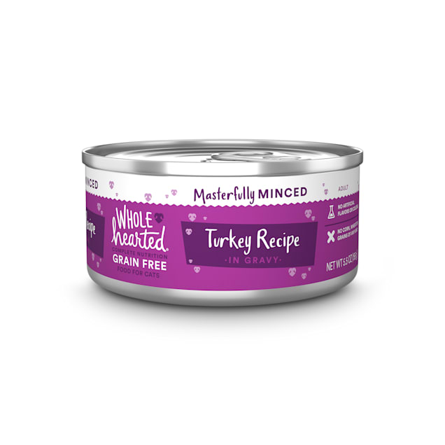 WholeHearted All Life Stages Grain-Free Turkey Recipe Minced in Gravy Wet Cat Food, 5.5 oz., Case of 12 - Carousel image #1