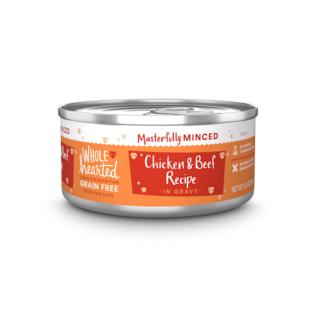 WholeHearted All Life Stages Grain-Free Chicken & Beef Recipe Minced in Gravy Wet Cat Food, 5.5 oz., Case of 12 - Carousel image #1