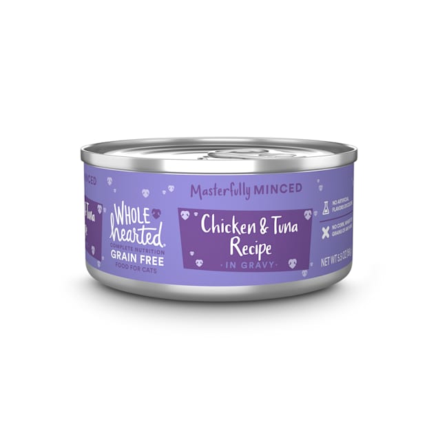 WholeHearted All Life Stages Grain-Free Chicken & Tuna Recipe Minced in Gravy Wet Cat Food, 5.5 oz., Case of 12 - Carousel image #1