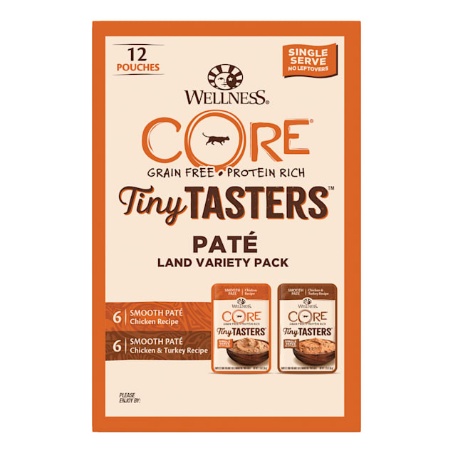 Wellness CORE Tiny Tasters Chicken, Chicken & Turkey Pate Land Variety Pack Grain Free Wet Cat Food, 1.75 oz., Count of 12 - Carousel image #1