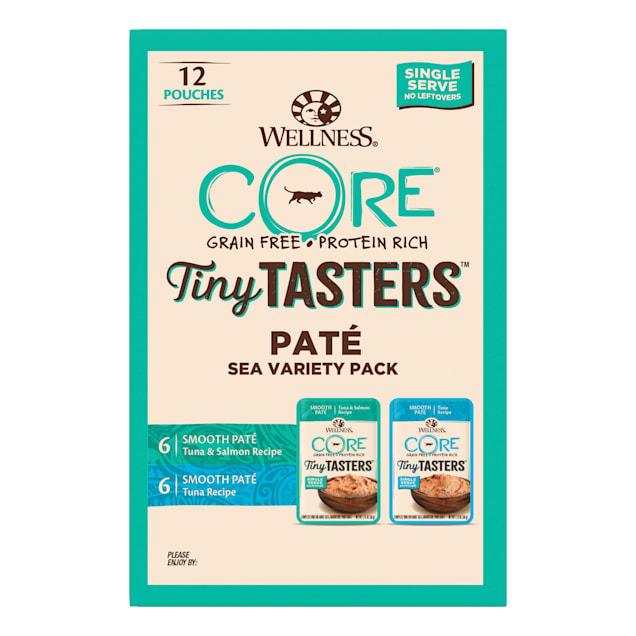 Wellness CORE Tiny Tasters Tuna & Salmon, Tuna Pate Sea Variety Pack Grain Free Wet Cat Food, 1.75 oz., Count of 12 - Carousel image #1