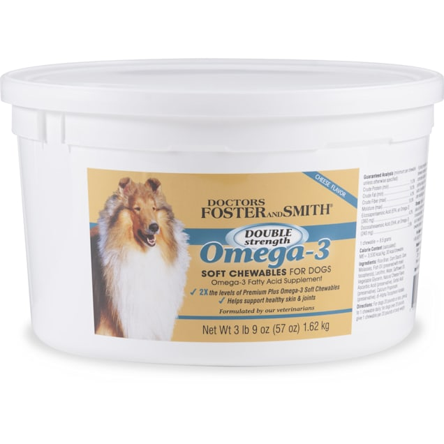 Drs. Foster and Smith Double Strength Omega-3 Soft Chews for Dogs, 3.6 lbs. - Carousel image #1