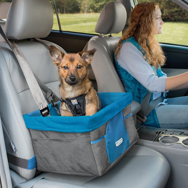 """Kurgo Heather Booster Charcoal/Blue Car Seat for Dogs, 13"""" L X 16"""" W X 9"""" H - Carousel image #1"""
