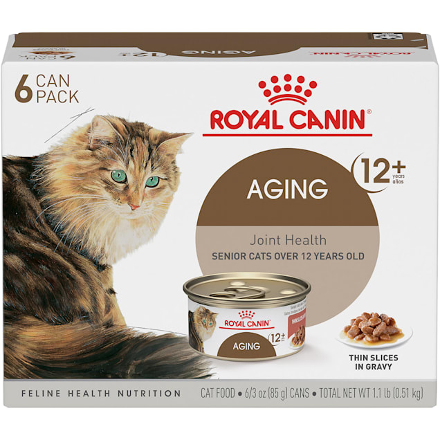 Royal Canin Aging 12+ Thin Slices in Gravy Variety Pack Wet Cat Food, 3 oz., Count of 6 - Carousel image #1