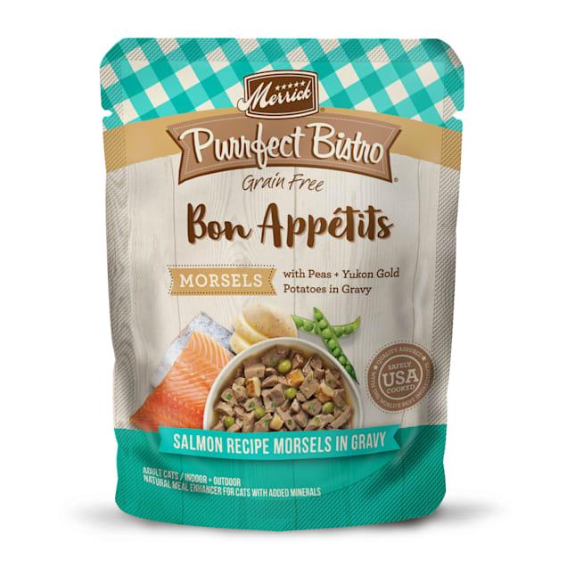 Merrick Purrfect Bistro Bon Appetits Salmon Morsels Grain Free Wet Cat Food, 3 oz., Case of 24 - Carousel image #1