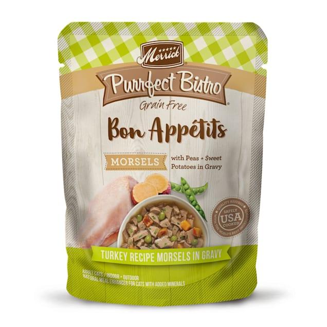 Merrick Purrfect Bistro Bon Appetits Turkey Morsels Grain Free Wet Cat Food, 3 oz., Case of 24 - Carousel image #1