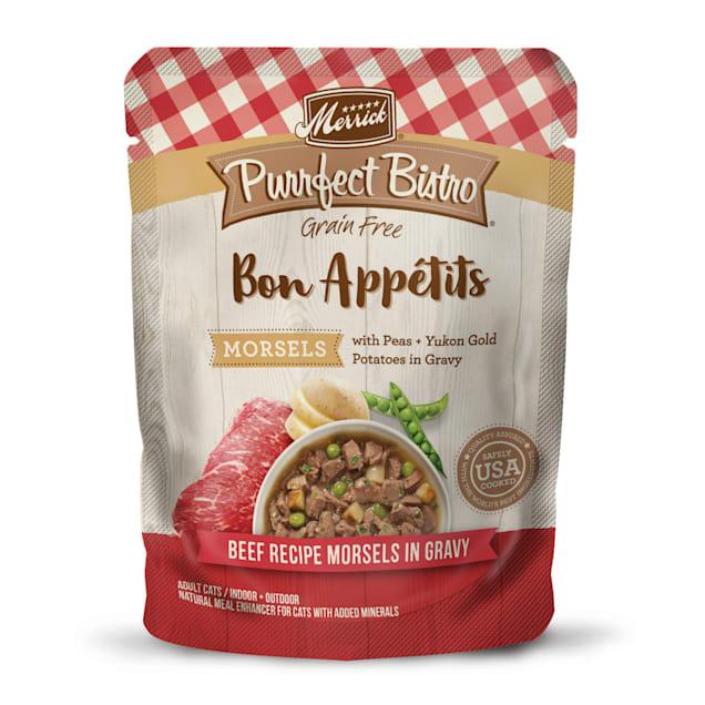 Merrick Purrfect Bistro Bon Appetits Beef Morsels Grain Free Wet Cat Food, 3 oz.,Case of 24 - Carousel image #1
